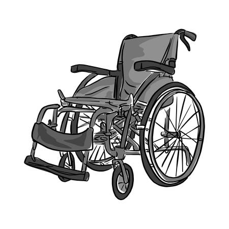 Black and white wheelchair vector illustration sketch doodle hand drawn with black lines isolated on white background