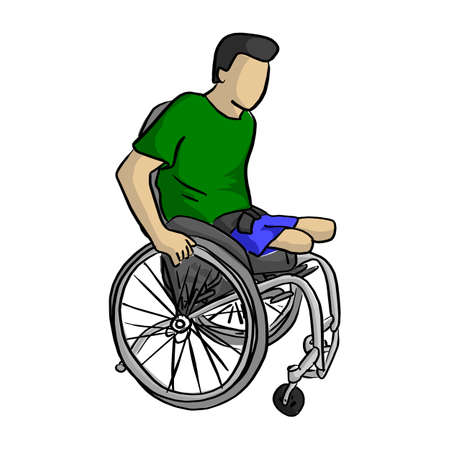 Handicapped man on wheelchair vector illustration sketch doodle hand drawn with black lines isolated on white background