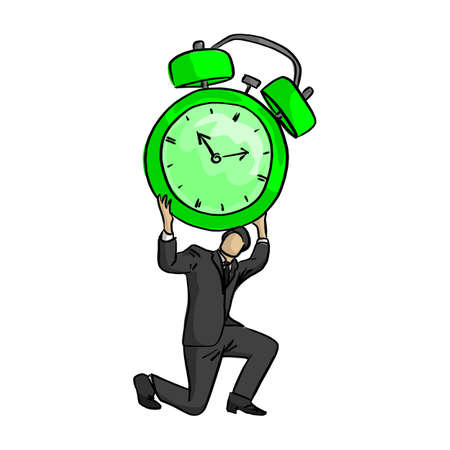 businessman holding big retro alarm clock over his head vector illustration sketch doodle hand drawn with black lines isolated on white background