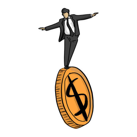 businessman standing on big golden coin vector illustration sketch doodle hand drawn with black lines isolated on white background. Financial stability business concept. Illustration
