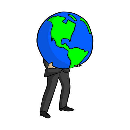 businessman holding big blue planet earth vector illustration sketch doodle hand drawn with black lines isolated on white background Illustration