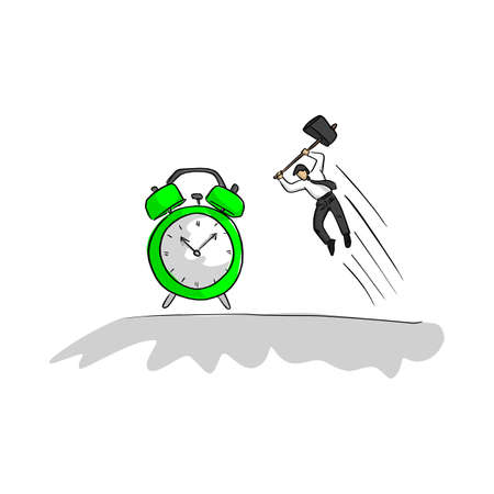 businessman using hammer to hit green alarm clock vector illustration sketch doodle hand drawn with black lines isolated on white background