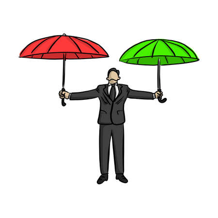 businessman holding red and green umbrella vector illustration sketch doodle hand drawn with black lines isolated on white background