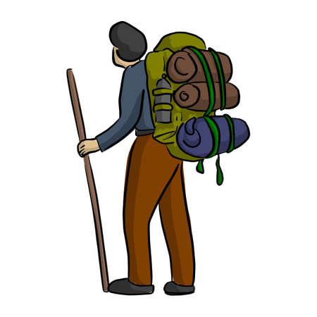 Jeune homme voyageant avec sac à dos vector illustration croquis doodle dessinés à la main avec des lignes noires isolés sur fond blanc. Concept de style de vie de voyage