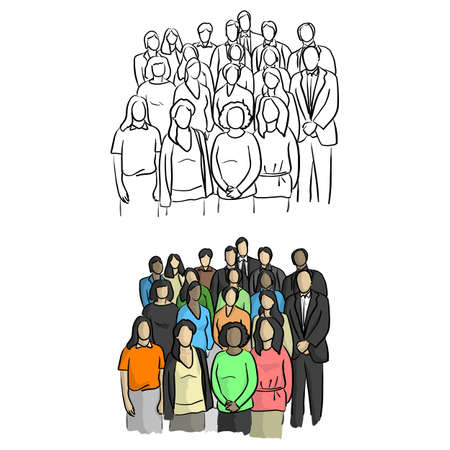 business people standing vector illustration sketch doodle hand drawn with black lines isolated on white background. Teamwork concept.
