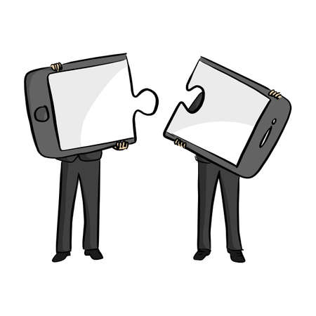 Two businessmen connecting mobile phone puzzle elements vector illustration sketch doodle hand drawn with black lines isolated on white background