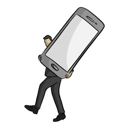 businessman carrying big mobile phone vector illustration sketch doodle hand drawn with black lines isolated on white background Illustration