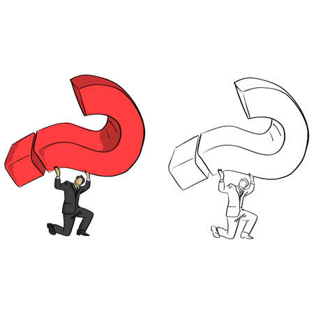 businessman carrying red big question mark vector illustration sketch doodle hand drawn with black lines isolated on white background Illustration