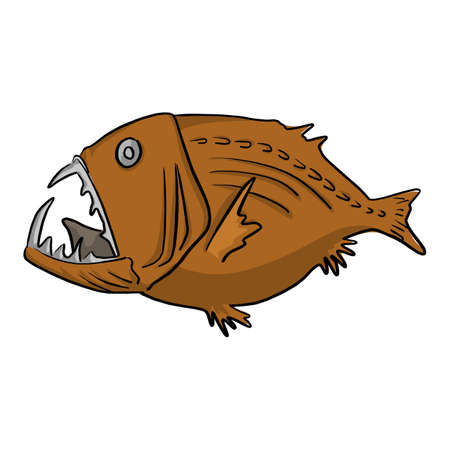 Deep sea fish vector illustration sketch doodle hand drawn with black lines isolated on white background Illustration