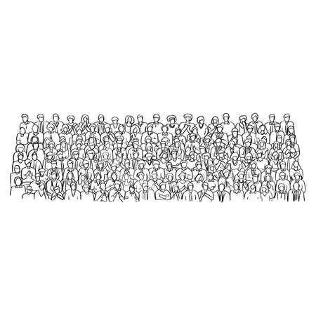 doodle crowd business people on meeting room vector illustration sketch hand drawn with black lines isolated on white background 向量圖像