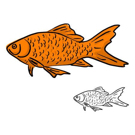 orange fish vector illustration sketch doodle hand drawn with black lines isolated on white background Illustration