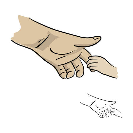 hand of father holding his son vector illustration sketch doodle hand drawn with black lines isolated on white background Çizim