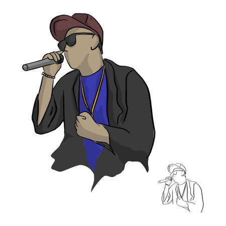 rapper holding microphone vector illustration sketch doodle hand drawn with black lines isolated on white background Иллюстрация