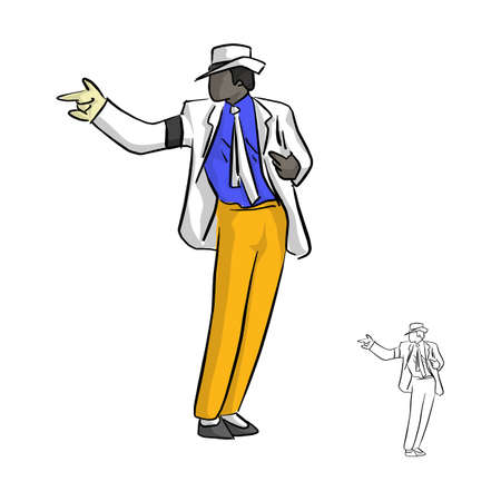 A singer in white suit and a glove dancing with famous style vector illustration sketch doodle hand drawn with black lines isolated on white background
