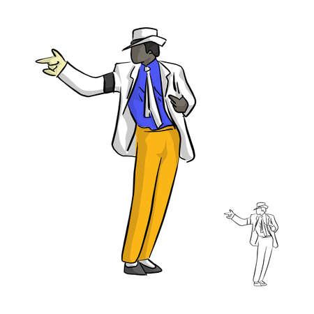 Un chanteur en costume blanc et un gant dansant avec un style célèbre vector illustration croquis doodle dessinés à la main avec des lignes noires isolés sur fond blanc Vecteurs