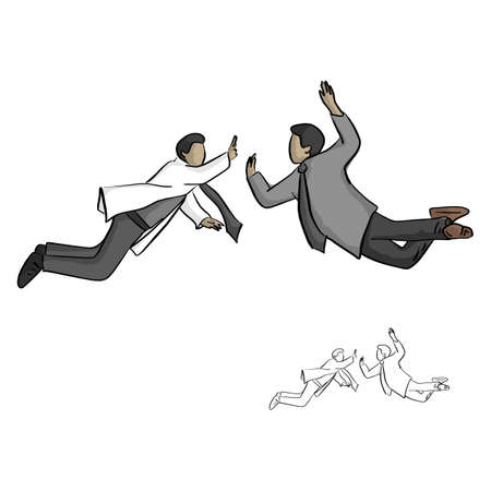 Two businessman jump to high five in the air vector illustration sketch doodle hand drawn with black lines isolated on white background. Partnership business concept.