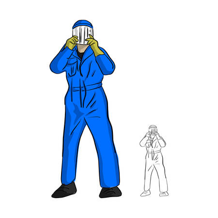 Mechanic man in jumpsuit wearing plastic mask vector illustration sketch doodle hand drawn with black lines isolated on white background Ilustrace