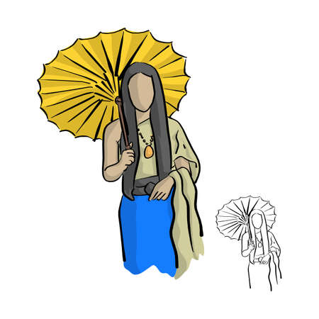 Asian woman wearing Thai traditional style cloth with wood yellow umbrella vector illustration sketch doodle hand drawn with black lines isolated on white background