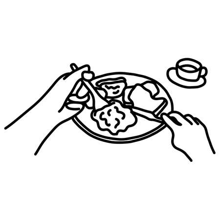 POV close-up hand of man putting food to his mouth vector illustration sketch doodle hand drawn with black lines isolated on white background