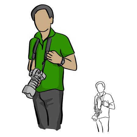 Male photographer holding DSLR camera vector illustration sketch doodle hand drawn with black lines isolated on white background Illustration