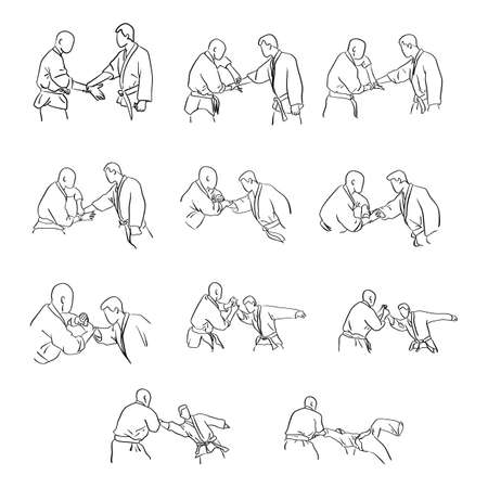 Martial arts with hand lock self defense vector illustration sketch doodle hand drawn with black lines isolated on white background. Step by step. Illusztráció