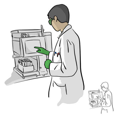 Female chemist using computer in laboratory vector illustration sketch doodle hand drawn with black lines isolated on white background