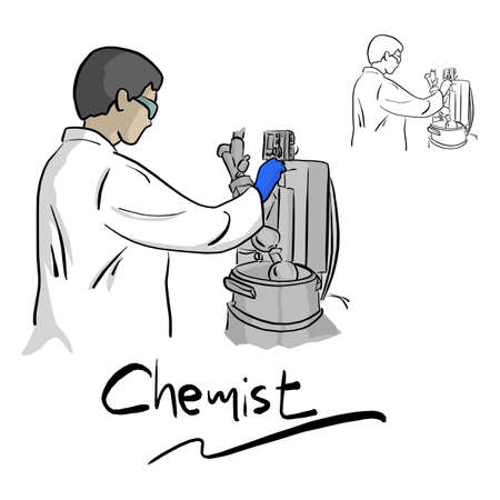 Female chemist working with equipment in laboratory vector illustration sketch doodle hand drawn with black lines isolated on white background