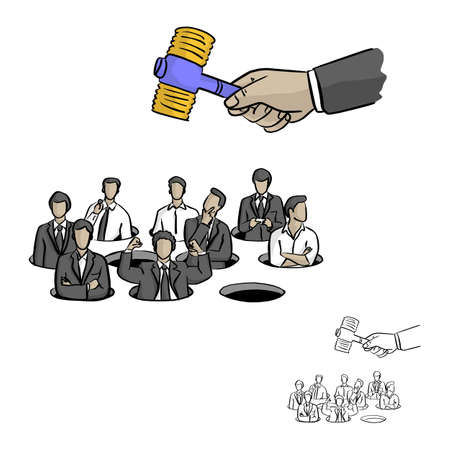 business people in mole hitting game vector illustration sketch doodle hand drawn with black lines isolated on white background. Business concept.