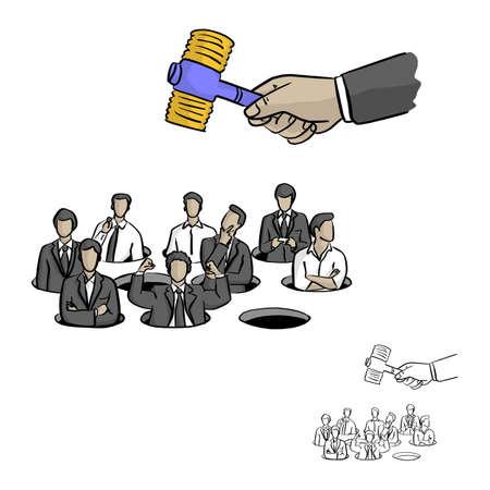 gente de negocios en topo golpeando juego vector ilustración boceto doodle dibujado a mano con líneas negras aisladas sobre fondo blanco. Concepto de negocio.