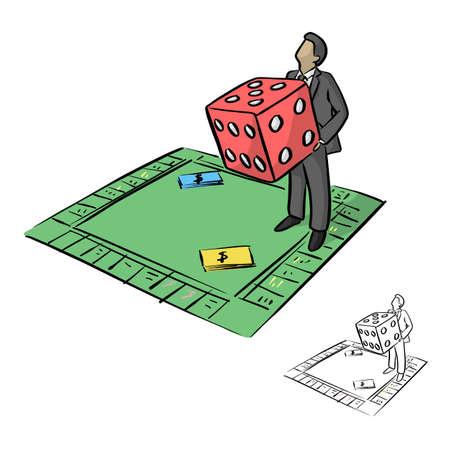 Geschäftsmann, der große rote Würfel in der Monopoly-Brettspielvektorillustrationsskizzen-Gekritzelhand hält, die mit schwarzen Linien gezeichnet wird, die auf weißem Hintergrund lokalisiert werden Vektorgrafik