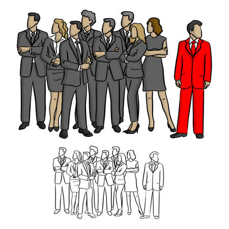 group of business people looking on the right except one in the red suit vector illustration sketch doodle hand drawn with black lines isolated on white background