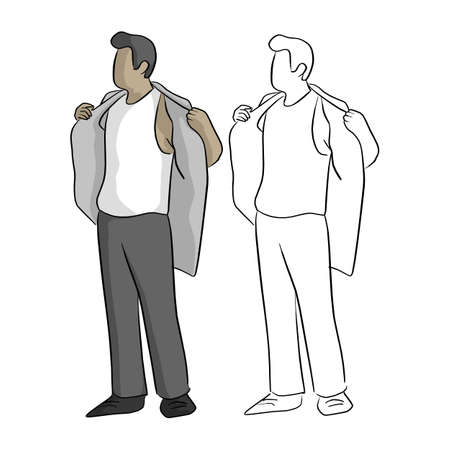 businessman taking off his shirt vector illustration sketch doodle hand drawn with black lines isolated on white background Vectores