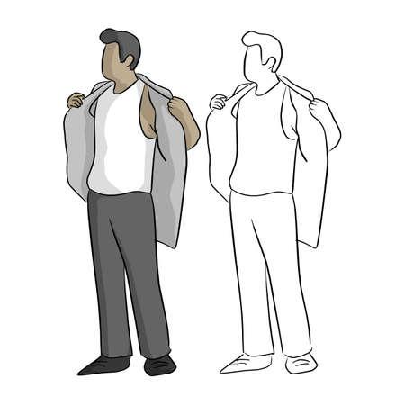 empresario quitándose la camisa vector ilustración boceto doodle dibujado a mano con líneas negras aisladas sobre fondo blanco Ilustración de vector