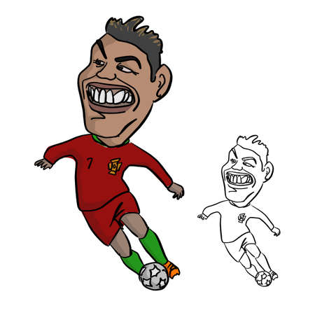 CHIANG RAI, THAILAND - MAY 19 : big head CR7 cristiano ronaldo in portugal jersey playing soccer ball on May 19, 2018 in Chiang rai, Thailand. Vector illustration sketch doodle hand drawn with black lines isolated on white background.