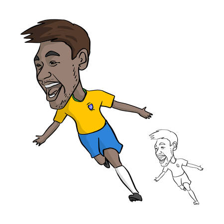 Neymar Jr in Brazil national jersey template caricature .June,2018. vector illustration sketch doodle hand drawn with black lines isolated on white background Иллюстрация