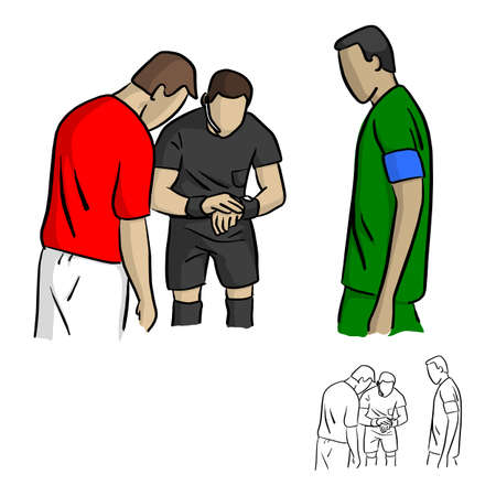 male referee tossing  a coin before the soccer game vector illustration sketch doodle hand drawn with black lines isolated on white background