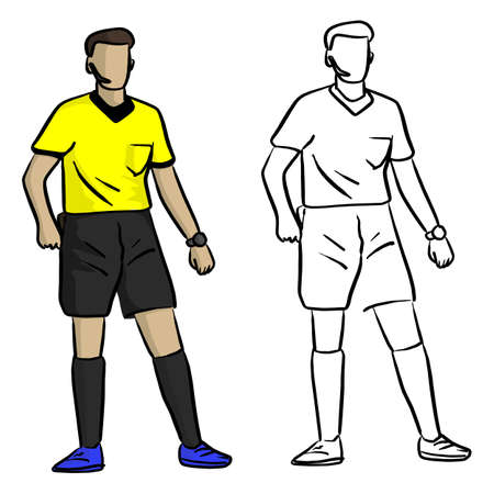 Professional soccer referee vector illustration sketch doodle hand drawn with black lines isolated on white background
