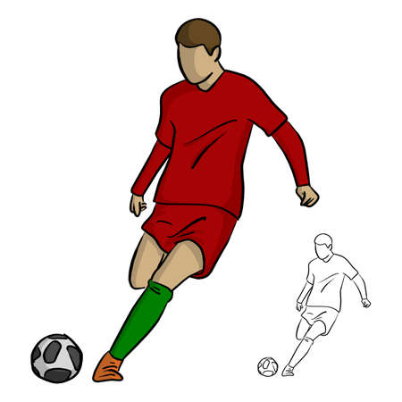 Soccer player in action, shooting a goal vector illustration sketch doodle hand drawn with black lines isolated on white background Illustration