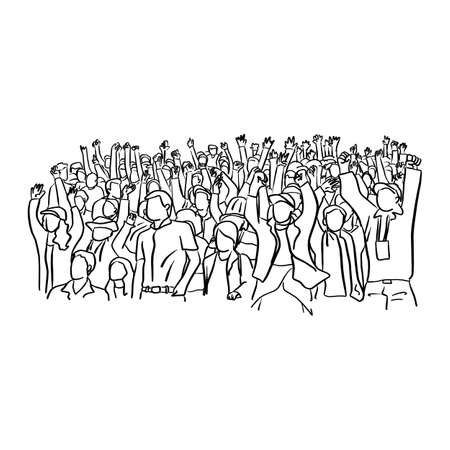 soccer supporter fans cheering with confetti watching soccer match event at stadium vector illustration sketch doodle hand drawn with black lines isolated on white background