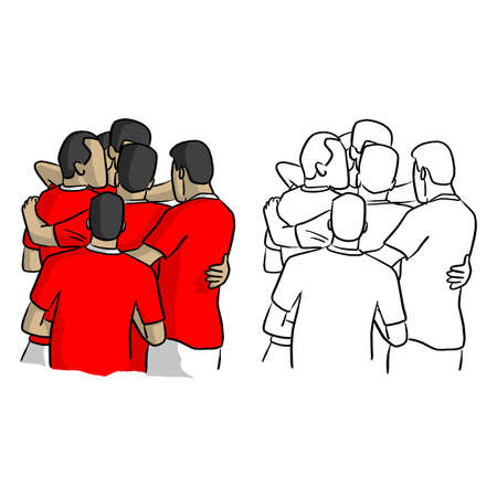 soccer players in red jersey shirts celebrating after goal vector illustration sketch doodle hand drawn with black lines isolated on white background