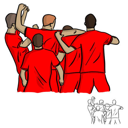 five soccer players celebrating after shooting goal vector illustration sketch doodle hand drawn with black lines isolated on white background Illustration