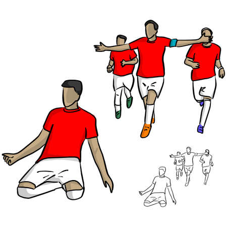 male soccer player in red jersey shirt celebrating a goal with his team vector illustration sketch doodle hand drawn with black lines isolated on white background