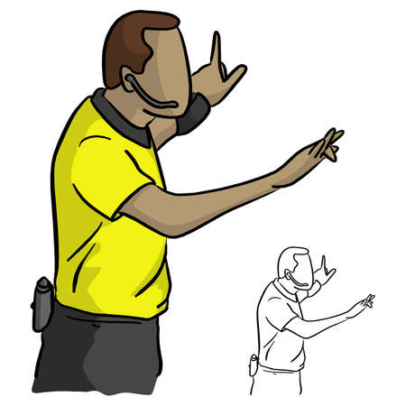 close-up male referee with yellow jersey shirt vector illustration sketch doodle hand drawn with black lines isolated on white background