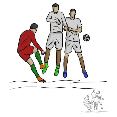 male soccer player shooting against the wall vector illustration sketch doodle hand drawn with black lines isolated on white background Illustration
