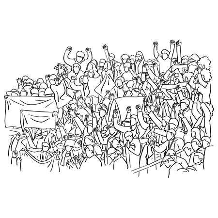Group of fans cheer for their soccer team victory on a stadium bleachers vector illustration sketch doodle hand drawn with black lines isolated on white background