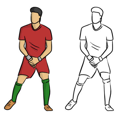 male soccer player forming a wall to protect the gate from the penalty spot vector illustration sketch doodle hand drawn with black lines isolated on white background Illustration