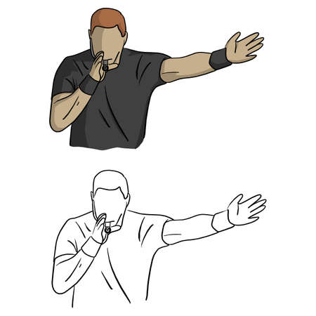 male referee in black jersey shirt blowing a whistle vector illustration sketch doodle hand drawn with black lines isolated on white background