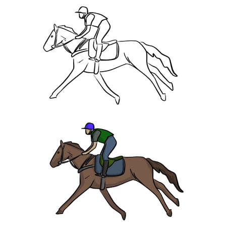 Jockey on horse vector illustration sketch doodle hand drawn with black lines isolated on white background