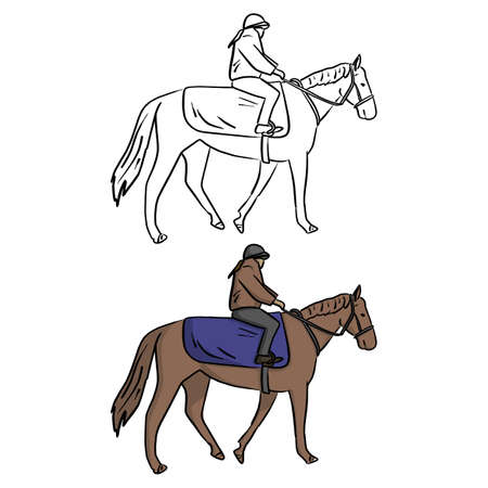 female jockey on horse vector illustration sketch doodle hand drawn with black lines isolated on white background
