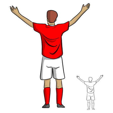 male soccer player in red jersey shirt spread the arms out vector illustration sketch doodle hand drawn with black lines isolated on white background
